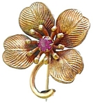 Goldtone Delicate Flower Brooch