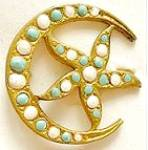 Crescent Moon & Star Victorian Brooch
