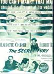 The Secret Fury Movie Ad - 1950
