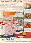 1957 Roper Pink Kitchen Stove Gas Ad Retro