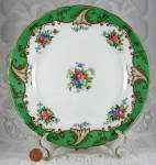Tuscan Blenheim Luncheon Plate Green Borders Floral Gold Fancy