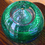 Green Bubble Glass Paperweight Pen Or Candle Holder