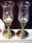 Vintage Princess House Crystal Heritage Brass Candle Lamps Pair