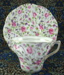 Cup And Saucer Rosina Chintz Roses Violets Bone China 1950s