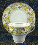 Rosina Cup And Saucer Yellow Dog Roses Hand Colored On Transfer
