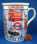 London Mug Souvenir Bone China Beefeater London Street Names Taxi