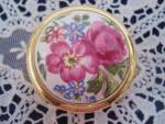 Vintage Pill Box Floral Hinged Lid