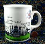 London Mug Souvenir London Landmarks Original Sticker 1980s