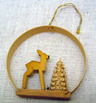 Hand Carved Wooden Deer And Tree Christmas Ornament