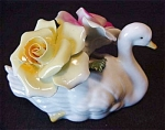 Thorley English Bone China Floral Swan