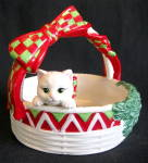 Fitz & Floyd Yuletide Kitten Handled Bowl