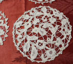10 Handmade Bobbin Lace Coasters, Goblet Rounds