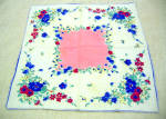 Vintage Pink, Red And Blue Printed Cotton Handkerchief