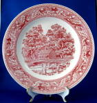 Memory Lane Pink Transfer Dinner Plate Royal China Usa Red White