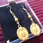 Goldtone Miraculous Medal Long Crystadangle Earrings Virgin Mary