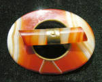 Antique Victorian Era Scottish Agate Brooch Pin