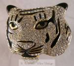 Striking Rhinestone And Enamel Tiger Brooch