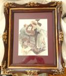 Antique Framed Print 1910 Harrison Fisher Music Hath Charms Piano