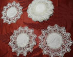 8 Handmade Linen Lace Coasters Goblet Round C1900