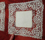 5 Handmade Linen And Lace Doilies Circa 1800s