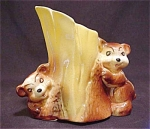 American Bisque Brown Bear Cubs Planter Vase