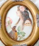 Antique Ornate Oval Wood Framed Print Edwardian Lady And Bird