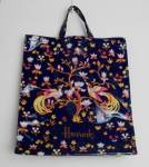 Harrods Large Shopping Bag Vinyl Navy Floral Tote 17.5 In.