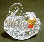 Anna Hutte German Crystal Lidded Swan Dish