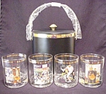 Norman Rockwell Ice Bucket Set 4 Glasses