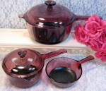 Vintage Pyrex Corning Cranberry Visions Cookware Glass 5 Piece Set