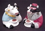 Clay Art Coffee Counter Cow Salt & Peppers
