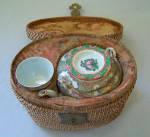 Chinese Porcelain Picnic Tea Set In Basket C1860