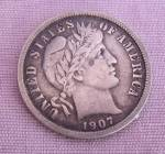 1907 Silver Barber Dime With Vf Details