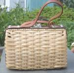 Retro Tan & Leather Basket Handbag Purse