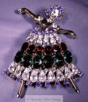 Large Gp Dancer Brooch Covered With Colorful Rhinestones