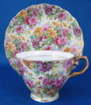Chintz Cup And Saucer Pale Yellow With Floral Porcelain