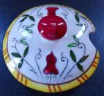 Ucagco Py Rooster And Roses Sugar Bowl Lid Only
