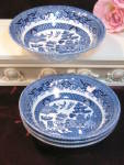 Royal Wessex England Blue Willow Soup Bowl Set