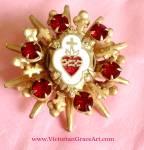 Vintage Red Rhinestone Sacred Heart Cross Religious Catholic Pin