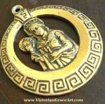 Vintage St. Barbara Pendant Greek Key Design Gold Tone Medal