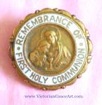 Vintage Boys First Holy Communion Remembrance Pin Jesus Medal