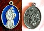 Vintage St. Anthony Blue Enamel Medal Child Jesus Pendant