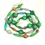 Christmas Mercury Glass Bead Garland Mostly Green Mixed Beads