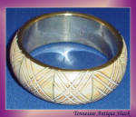 Vintage Brass Faux Ivory Bangle Bracelet