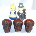 5 Gurley Thanksgiving Pilgrim Kids And Turkeys Figural Candles