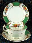 Vintage Cup And Saucer With Plate Green Bands Bouquets Gold 1930s