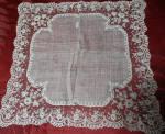 Handmade Brussels Lace Wedding Hankie C1880s
