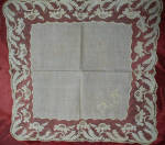 Cotton Muslin Hankie With Handmade Lace Mid 1800s
