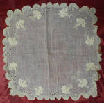 Handmade Cotton Hankie Hand Embroidered Late 1800s