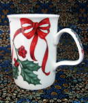 Christmas Ribbon Mug Roy Kirkham Ribbons Holly Bone China